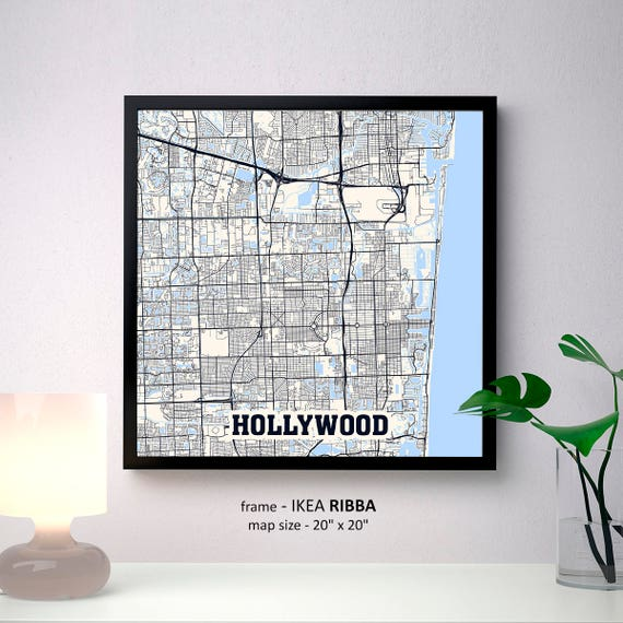 Hollywood Florida Map.Hollywood Florida Map Print Hollywood Square Map Poster