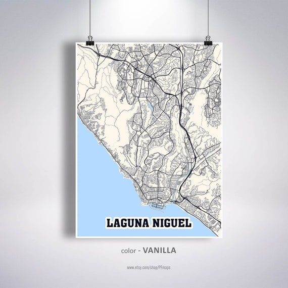 Laguna Niguel Map Print Laguna Niguel City Map California Ca Etsy