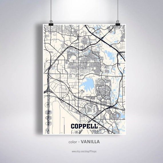 Coppell Tx Zip Code Map.Coppell Map Print Coppell City Map Texas Tx Usa Map Poster Etsy