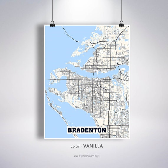 Bradenton Map Print, Bradenton City Map, Florida FL USA Map Poster,  Bradenton Wall Art, City Street Road Map