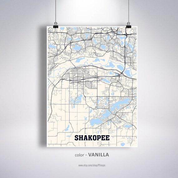 Shakopee Map Print, Shakopee City Map, Minnesota MN USA Map Poster,  Shakopee Wall Art, City Street Road Map