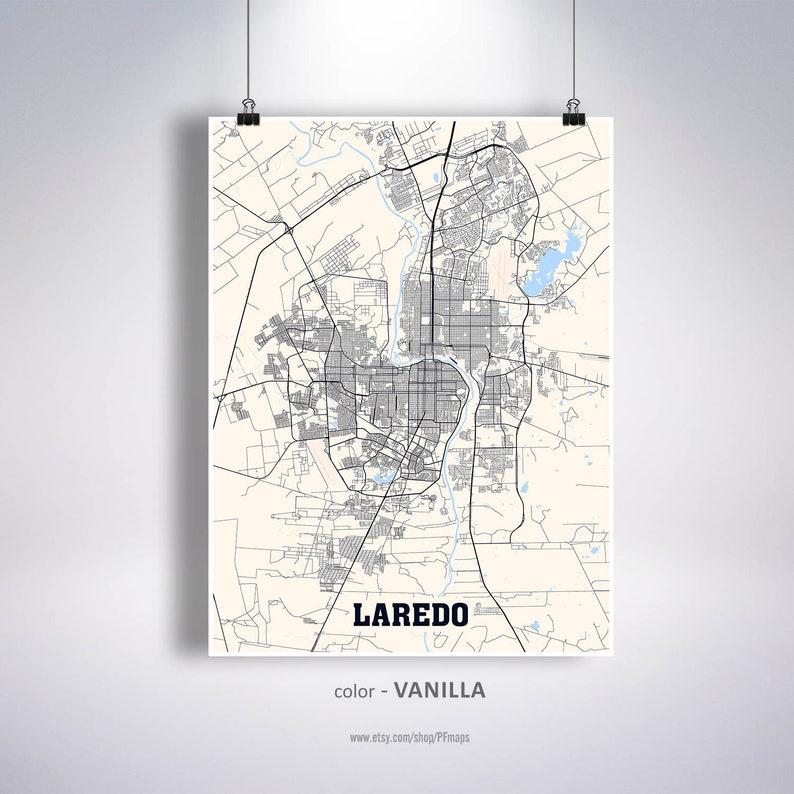 Map Of Texas Showing Laredo.Laredo Map Print Laredo City Map Texas Tx Usa Map Poster Etsy