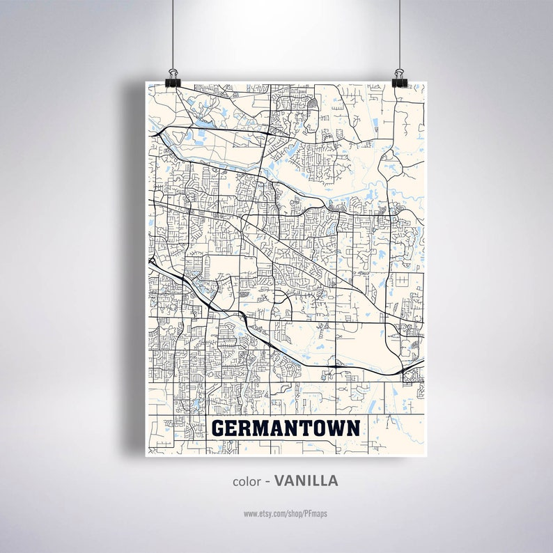 Germantown Map Print, Germantown City Map, Tennessee TN USA Map Poster,  Germantown Wall Art, City Street Road Map