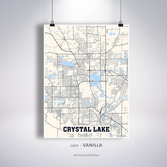 Crystal Lake Illinois Map.Crystal Lake Map Print Crystal Lake City Map Illinois Il Usa Etsy
