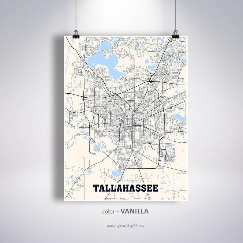 Tallahee Map Print, Tallahee City Map, Florida FL USA Map Poster,  on