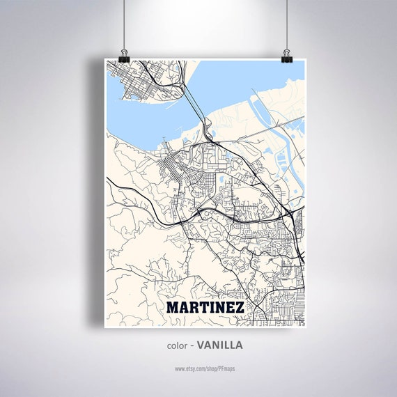 Martinez Map Print Martinez City Map California Ca Usa Map Etsy