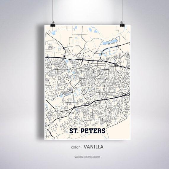 St Peters Missouri Map.St Peters Map Print Saintt Peters City Map Missouri Mo Usa Etsy