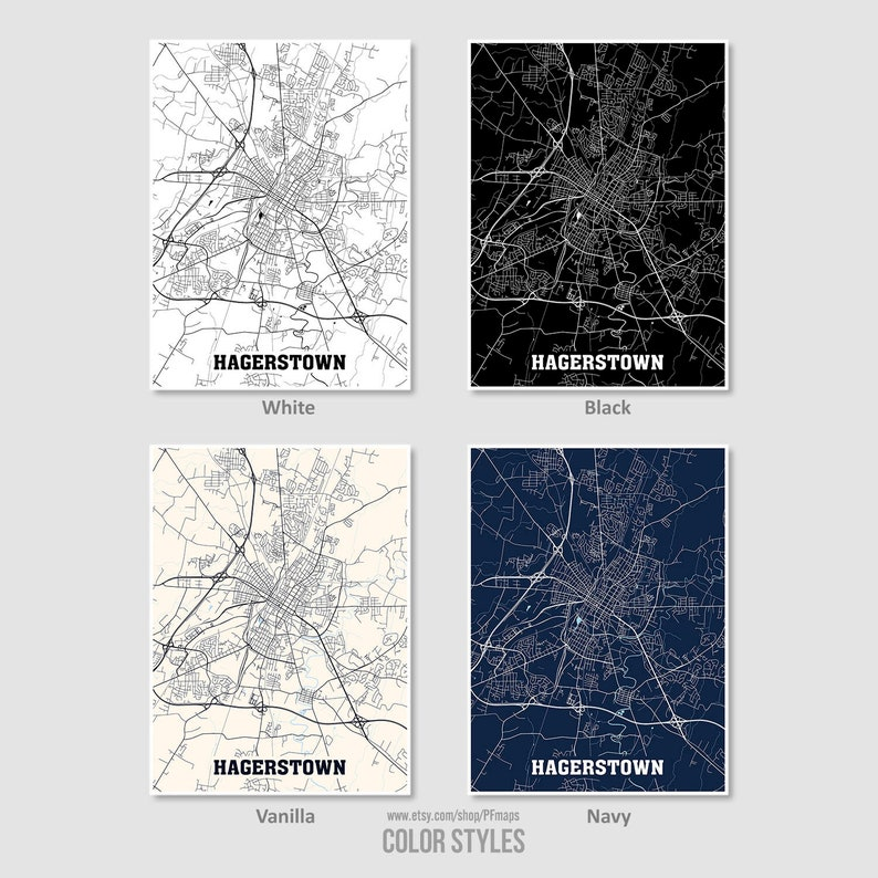 Hagerstown City Map Hagerstown Wall Art City Street Road Map Hagerstown Map Print Maryland MD USA Map Poster