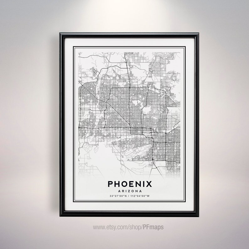 Minimalist Map Phoenix Art Phoenix Arizona Map Map of Phoenix Phoenix Poster Phoenix black and white map Phoenix AZ Print