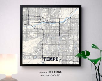 Tempe Arizona Map Print, Tempe Square Map Poster, Tempe Wall Art, Tempe gift, Custom Personalized map, Arizona State University