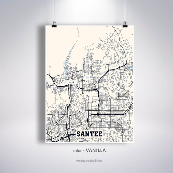 Santee Map Print, Santee City Map, California CA USA Map Poster, Santee  Wall Art, City Street Road Map