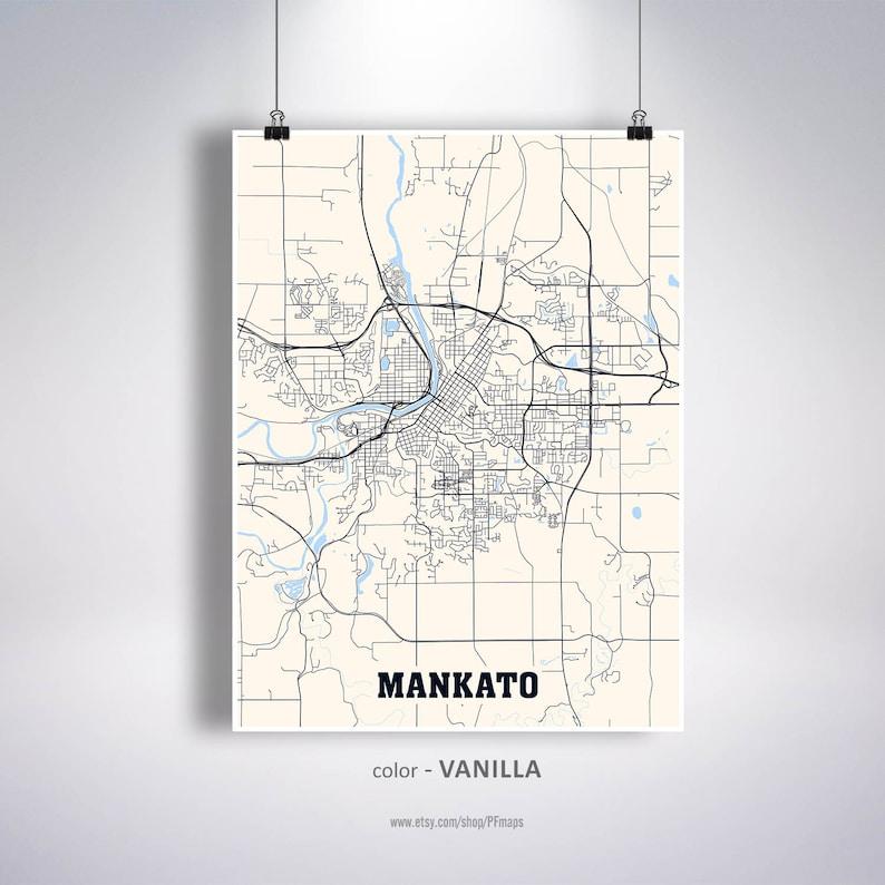 Mankato Map Print, Mankato City Map, Minnesota MN USA Map Poster, Mankato  Wall Art, City Street Road Map