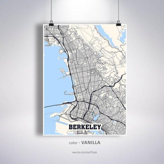 University of California at Berkeley Berkeley gift Berkeley Wall Art Berkeley California Map Print Berkeley Square Map Poster