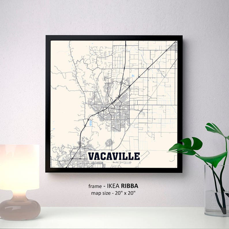 Map Of California Vacaville.Vacaville California Map Print Vacaville Square Map Poster Vacaville Wall Art Vacaville Gift Custom Personalized Map