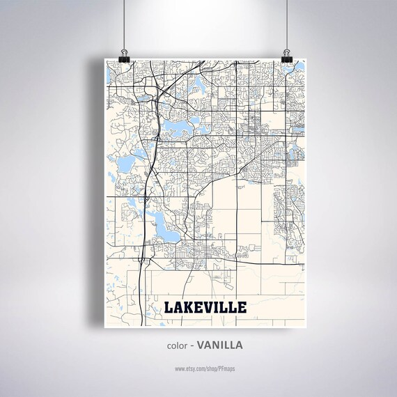 Lakeville Map Print, Lakeville City Map, Minnesota MN USA Map Poster,  Lakeville Wall Art, City Street Road Map