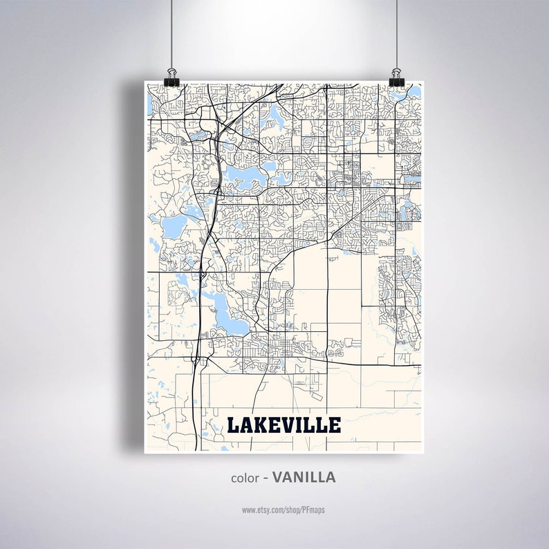 Lakeville Map Print Lakeville City Map Minnesota MN USA Map | Etsy