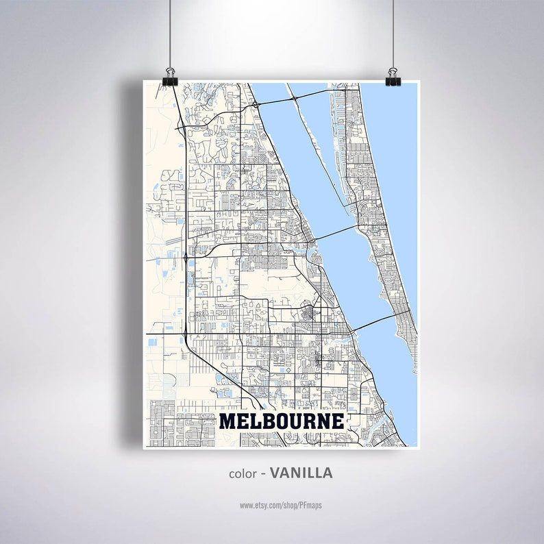 Map Of Florida Melbourne.Melbourne Map Print Melbourne City Map Florida Fl Usa Map Poster Melbourne Wall Art City Street Road Map