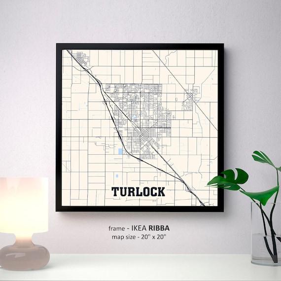 Turlock California Map Print Turlock Square Map Poster Etsy