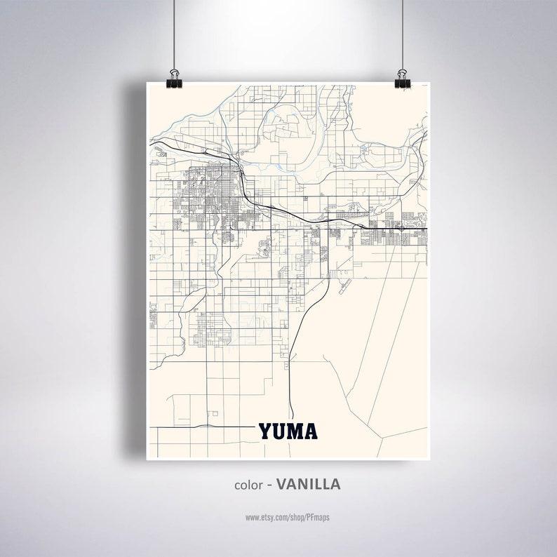 Street Map Of Yuma Arizona.Yuma Map Print Yuma City Map Arizona Az Usa Map Poster Yuma Wall Art City Street Road Map