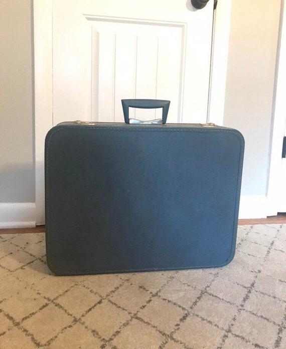 Vintage blue suitcase, vintage monarch suitcase, V