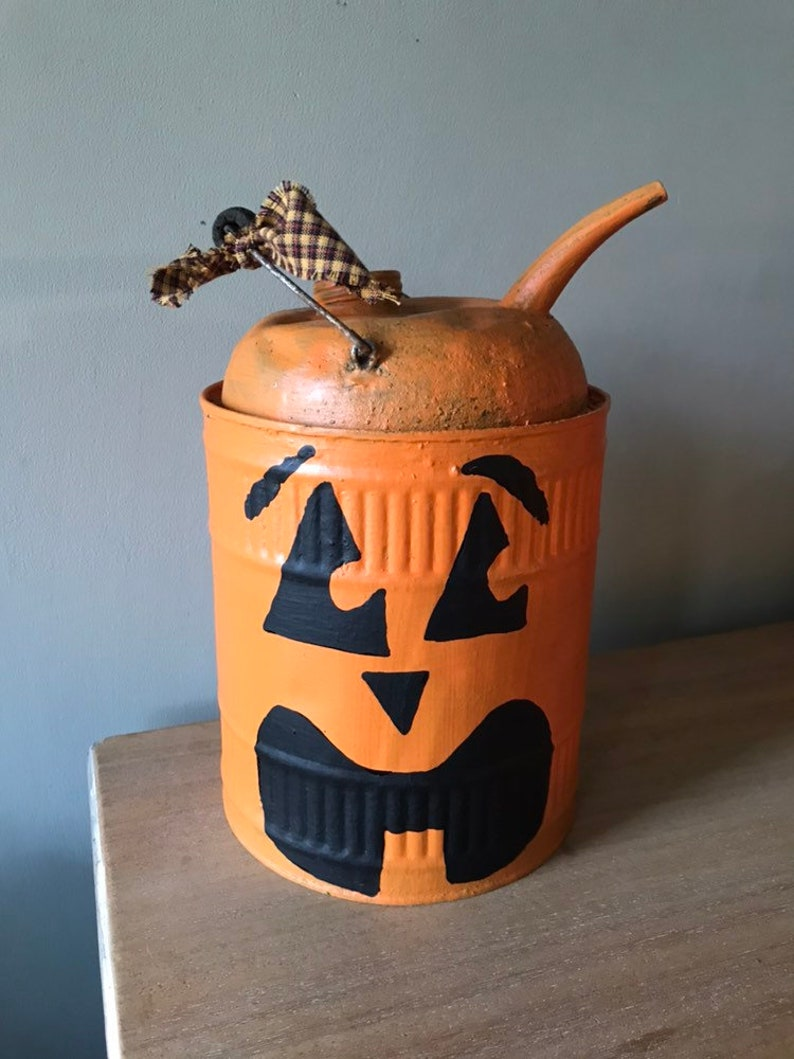 Vintage gas can small gas can Pumpkin gas can painted   Etsy