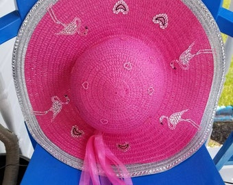 20143d95 Pink and Silver Flamingo Sun Hat with hearts! Great for summer parties, the  pool, the beach, cruising! One of a kind! Unique and fun!
