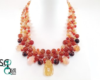 Natural gemstone necklace - Citrine, Carnelian, fire Agate, Bull Œil