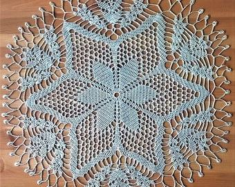 Soft mint crochet doily - 18 inches (47 cm)