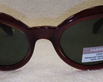 c84f00f3b252 NEW Vintage FABRIS LANE Etalia Italian Sunglasses Brown Gloss Hand Finished  Frames with Oval Lenses New Old Stock