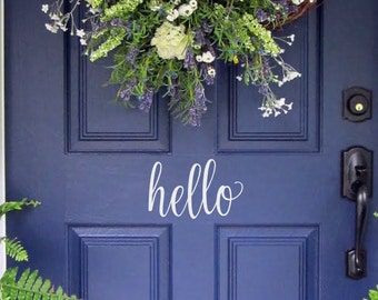 Hello Door Decal/ Door Decal/ Vinyl Decal for your Front Door/ Hello Vinyl Lettering/ Entry Way or Porch Decal/ Welcome Decal/ FREE SHIPPING