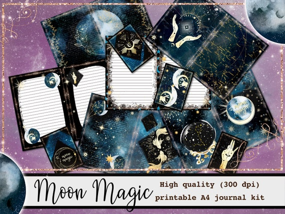 magick grimoire inserts wicca witchcraft printable journal kit Book of shadows digital bundle good witch diary ephemera set