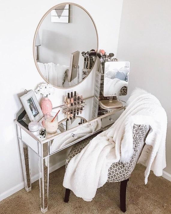 Mirrored Makeup Vanity Table , Jacklyn Premium Mirrored Vanity Table ,  Mirrored Console Table with 2 Drawers, Mirrored Makeup Vanity Desk