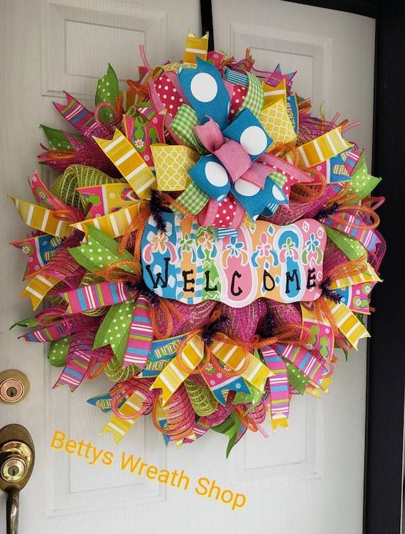 f36518db87766 Spring Deco Mesh Wreath Spring Wreaths Spring Door