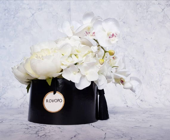 flower box pfingstrosen hortensie orchideen wei schwarz home etsy. Black Bedroom Furniture Sets. Home Design Ideas