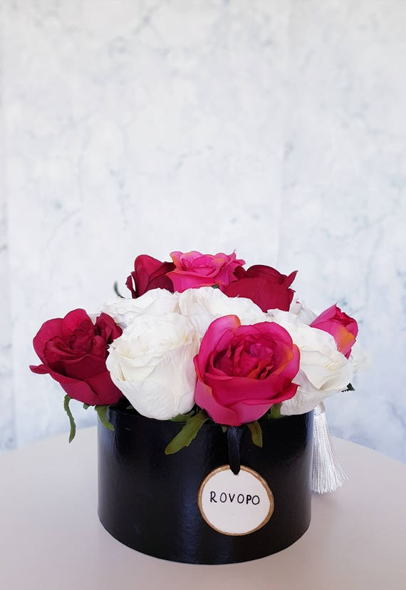 White red pink roses box artificial silk flower arrangement etsy image 0 mightylinksfo