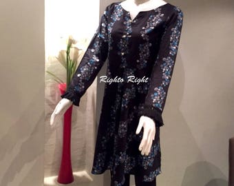 Designer Kurti Tunic Peplum Dress Black Printed Lawn 100% Cotton Ready Made