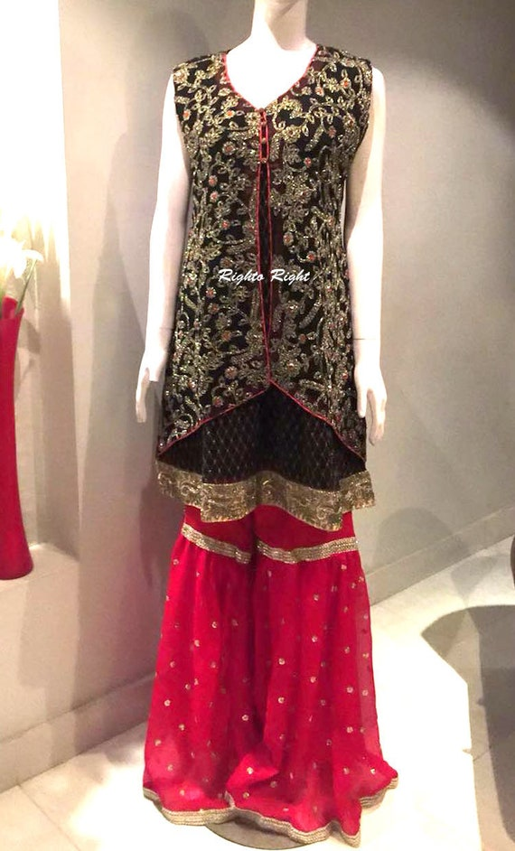 Shipping Ready Party Wedding Large Kameez Medium Wear XL Gharara Embroidered Free Made Size Heavily ZfYOwZqnp