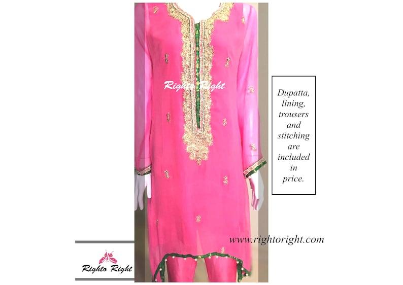 06235a1db7 Pakistani Gota Work Suit / Pink Kurta Kameez Pajama With   Etsy