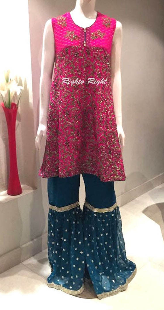 Free Gharara Ready Embroidered Wedding Heavily Size Shipping Party Small Medium Wear Made Peplum YwrYPfnH