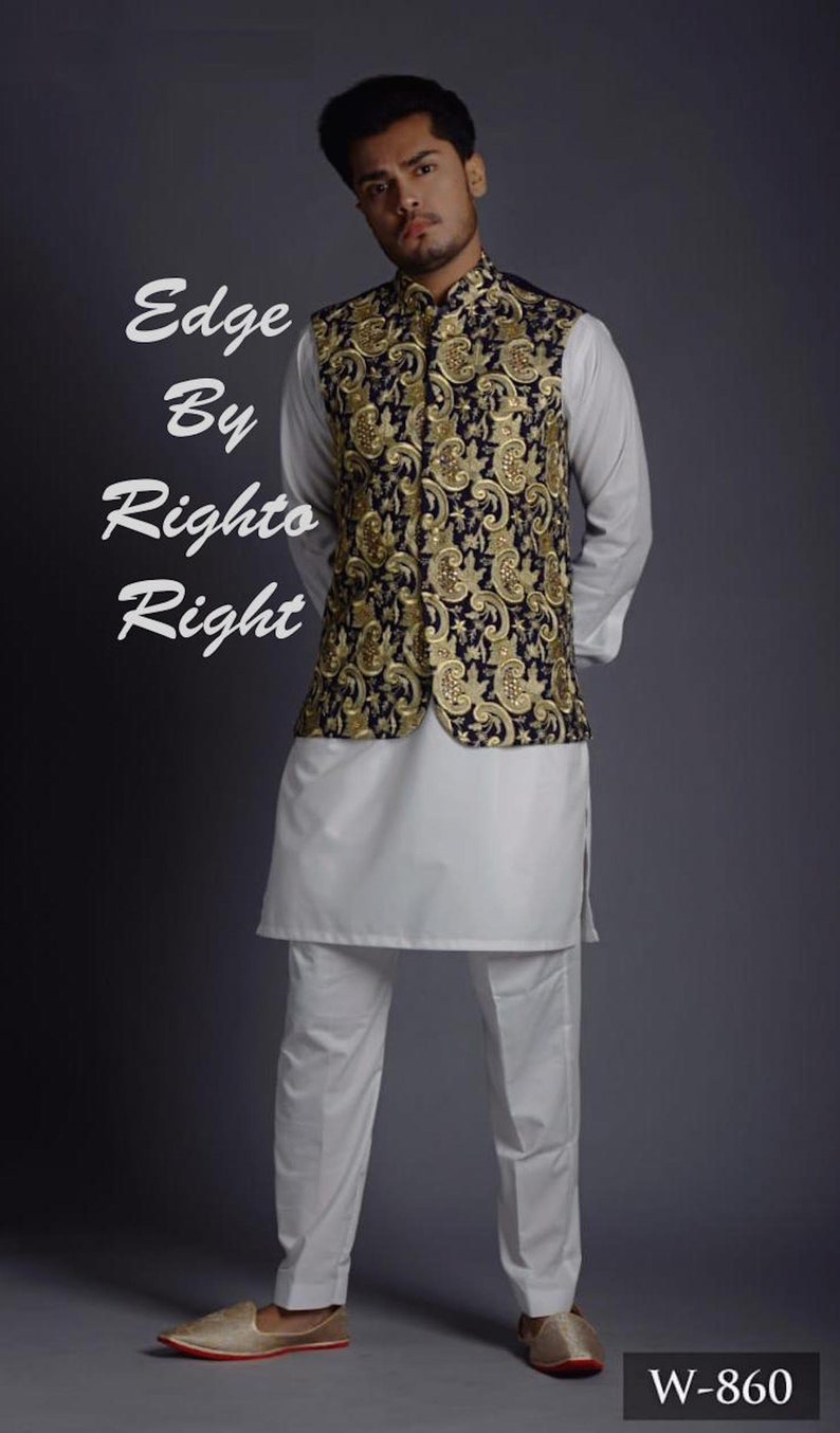 8398729ecf Shalwar Kameez Men / Men Kurta / Embroidered Jacket /   Etsy
