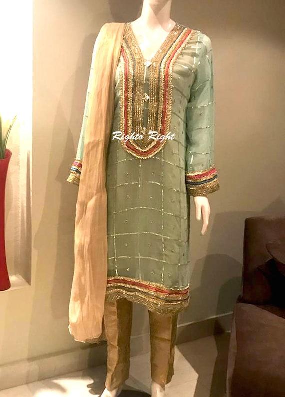 Mehndi Dress / Gota Work Pure Chiffon / Aqua Mint / Pakistani Dress /  Indian Dress / Punjabi / Wedding Guest / Eid / Stitched / Unstitched