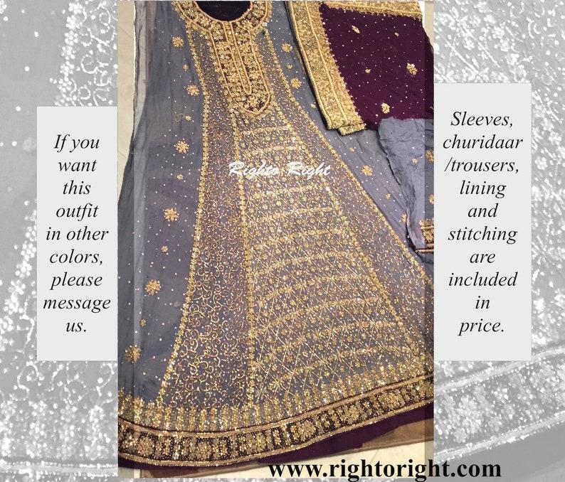 7a88ddd62b Pakistani Bridal Dress / Gray Frock / Maxi / Anarkali /   Etsy
