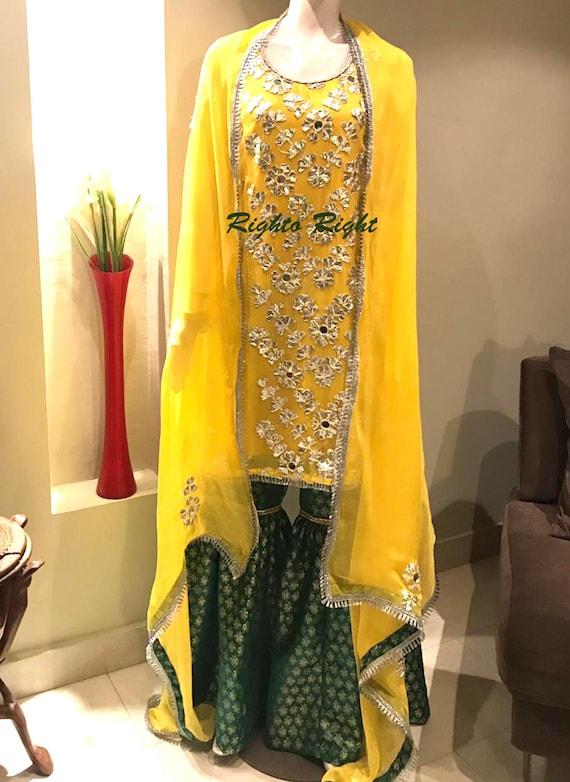 Mayun Mehndi Dress / Gharara Kameez / Yellow Green Silver Gota Patti /  Mirror Work / Pakistani Dress / Indian Wedding Dress / Ready To Ship