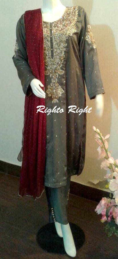 ed9a79a078d05 Pakistani Wedding Dress / Party Wear / Pret / Grey Gold / Custom ...