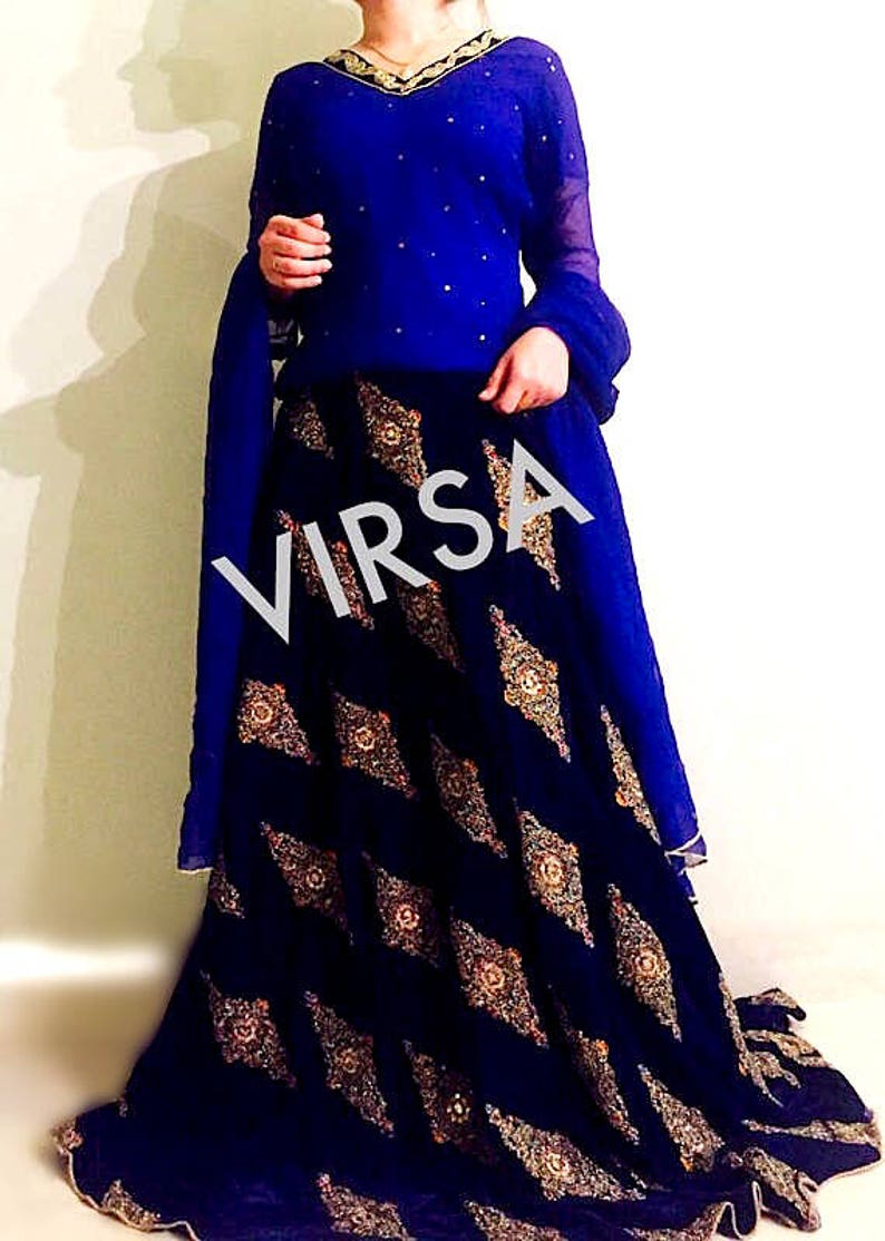 Pakistani Sharara Blue Lehenga Maxi Skirt Pakistani Wedding  2f6fd573a85