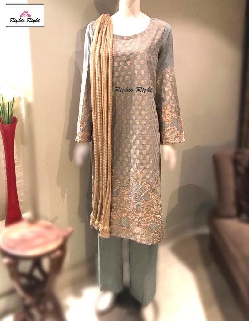 Indian Pakistani Embroidered Linen Trouser Suit Stitched Shalwar Kameez Salwar