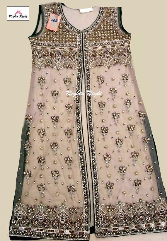 Pakistani Indian Wedding Guest Dress / Bridal Dress / Salwar Kameez / Nude  / Party Wear Beaded Jacket / Pakistani Clothes / Indian / Custom