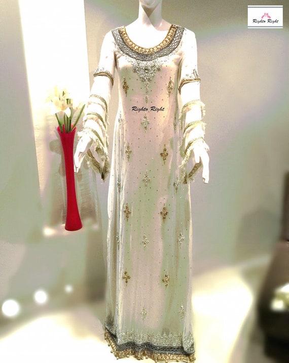Color Maxi Long Ready Any Any Size Dress Wedding To Custom Sleeves Pure White Chiffon Elegant Pakistani Bridal Bridal Stylish Wear wqnpgfCS