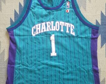 Muggsy Bogues Champion Jersey 48 Rare Charlotte Hornets NBA Vintage 90s 19799cc27