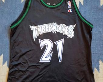 Kevin Garnett Vintage Champion Jersey 48 XL Rare Minnesota Timberwolves 90s  NBA 02ef3b53f